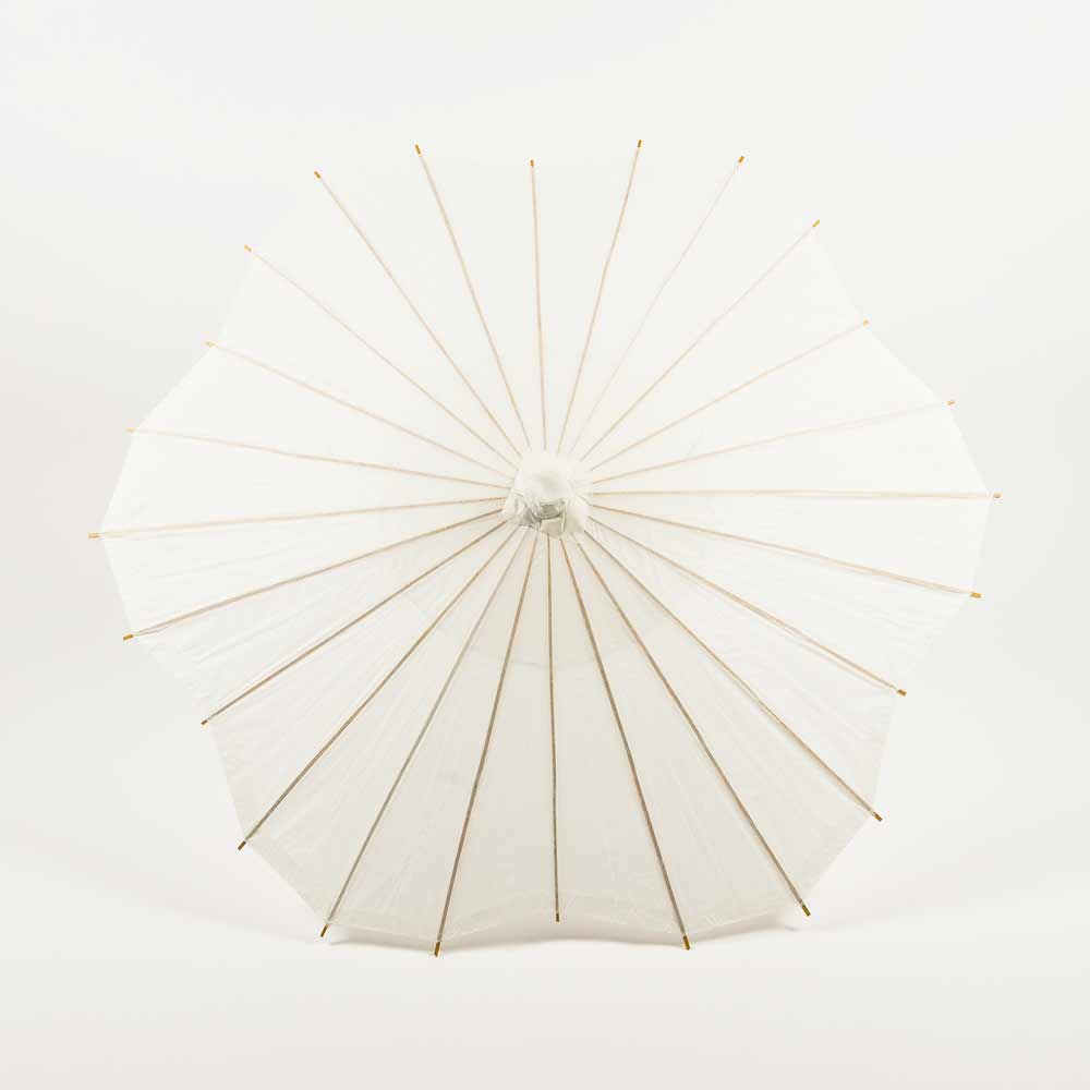 "32"" White Paper Parasol Umbrella, Scallop Shaped (Sun Protection) - Luna Bazaar 