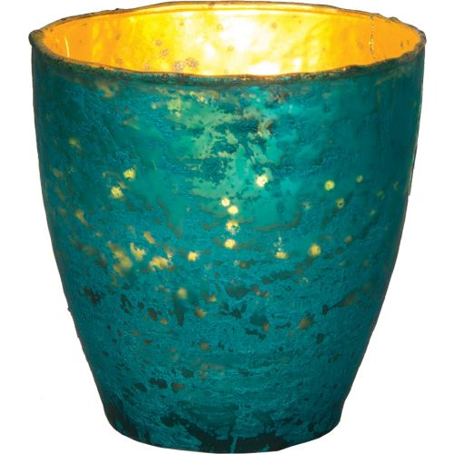 Turquoise Blue Ebe Luxe Glass Small Candle Holder - Luna Bazaar | Boho & Vintage Style Decor