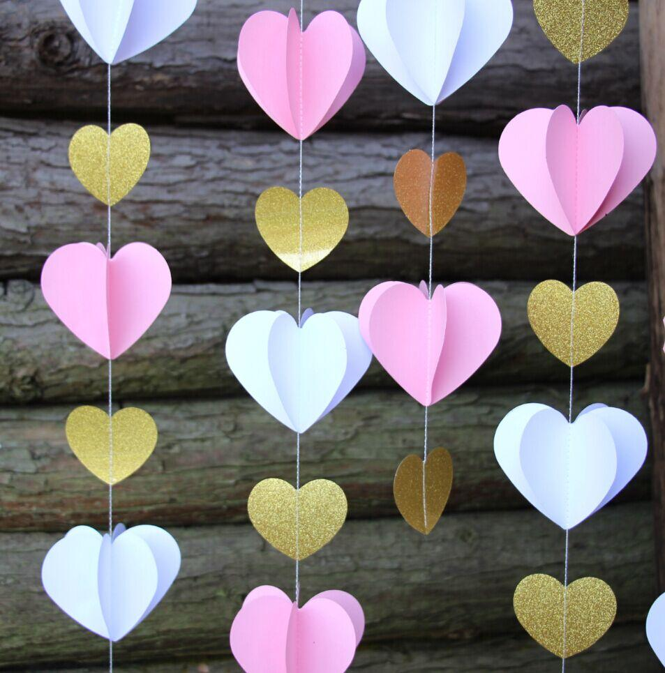 3D Pink and Gold Heart Paper Vertical Garland Banner (6FT) - Luna Bazaar | Boho & Vintage Style Decor