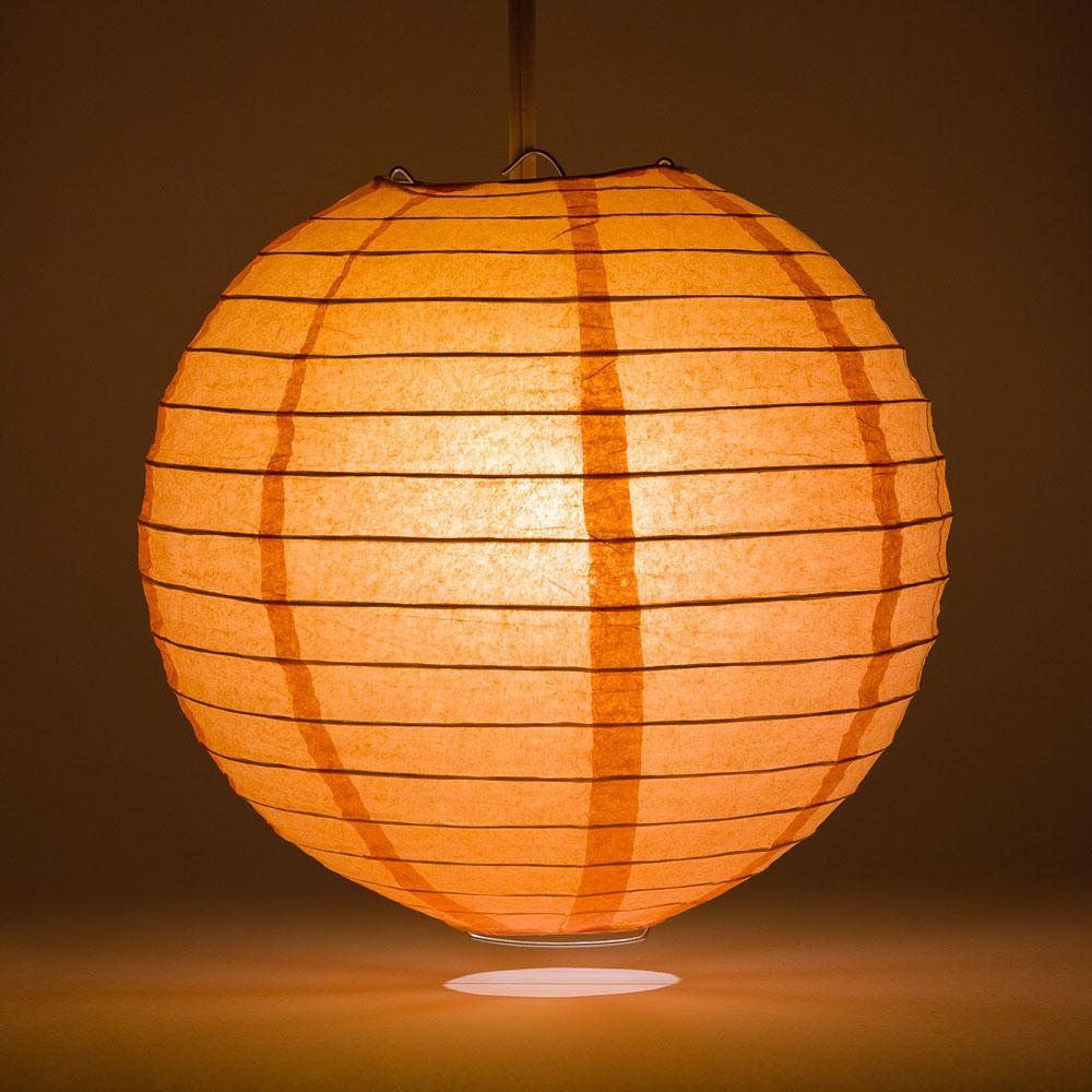 "8"" Peach / Orange Coral Parallel Ribbing Round Paper Lantern - Luna Bazaar 