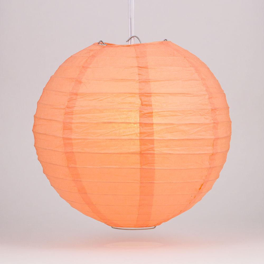 "4"" Peach / Orange Coral Parallel Ribbing Round Paper Lantern (10 PACK) - Luna Bazaar - Discover. Decorate. Celebrate"