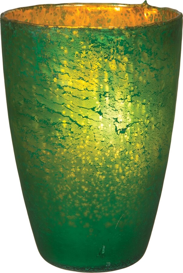 CLOSEOUT Emerald Green Nubiti Luxe Glass Large Candle Holder - Luna Bazaar | Boho & Vintage Style Decor