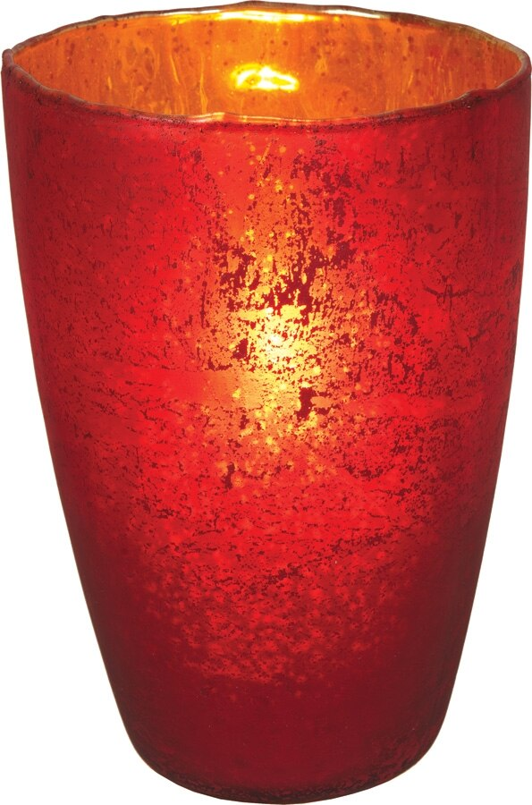 CLOSEOUT Red Nubiti Luxe Glass Large Candle Holder - Luna Bazaar | Boho & Vintage Style Decor