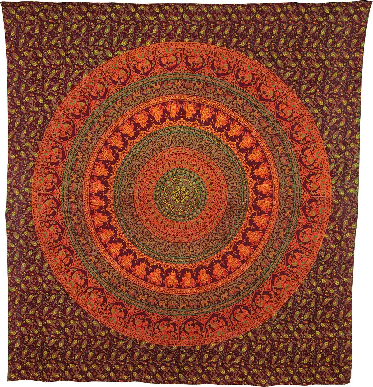 CLOSEOUT Devi Large Mandala Tapestry - (Large, 7 X 8 Feet, 100% Cotton, Fair Trade Certified) - Luna Bazaar | Boho & Vintage Style Decor