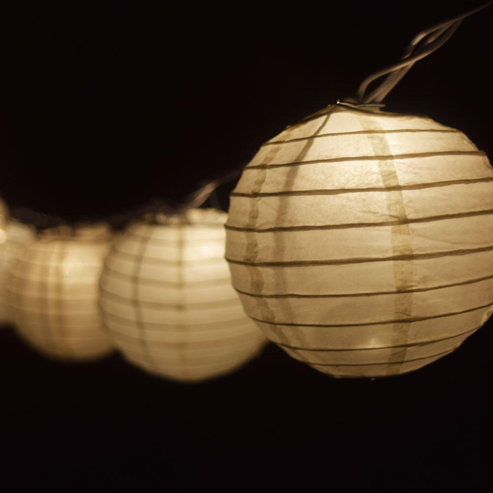 "10 Socket Beige Round Paper Lantern Party String Lights (4"" Lanterns, Expandable) - Luna Bazaar 