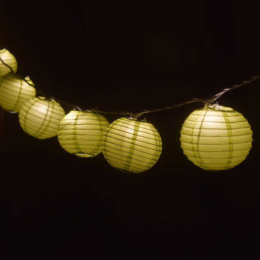 "10 Socket Chartreuse Round Paper Lantern Party String Lights (4"" Lanterns, Expandable) - Luna Bazaar 