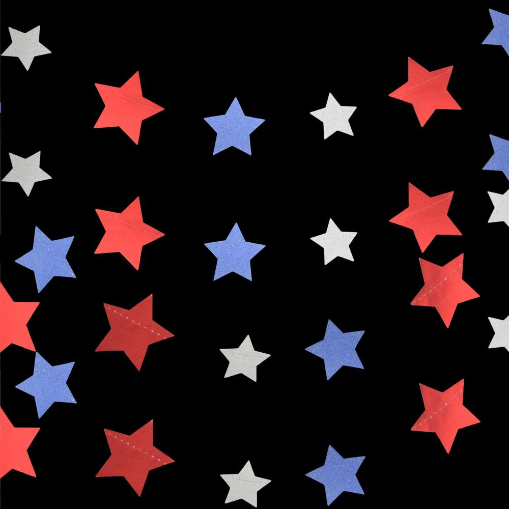 CLOSEOUT 4th of July Red, Silver and Blue Glitter Paper Star Garland Banner (11FT) - Luna Bazaar | Boho & Vintage Style Decor