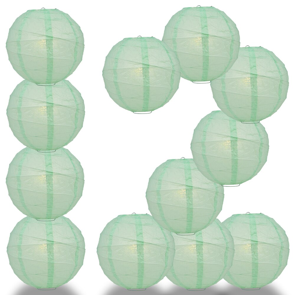 "12-Pack 20"" Cool Mint Green Free-Style Ribbing Round Paper Lantern - Luna Bazaar 