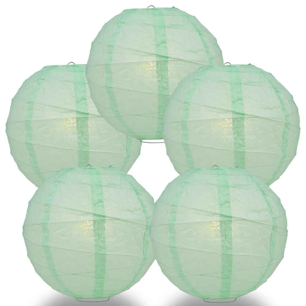 "5-Pack 24"" Cool Mint Green Free-Style Ribbing Round Paper Lantern - Luna Bazaar 