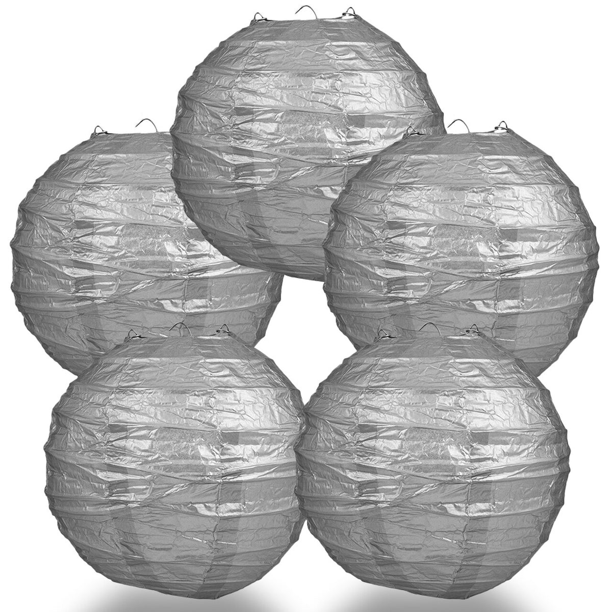 "5-Pack 14"" Silver Free-Style Ribbing Round Paper Lantern - Luna Bazaar 