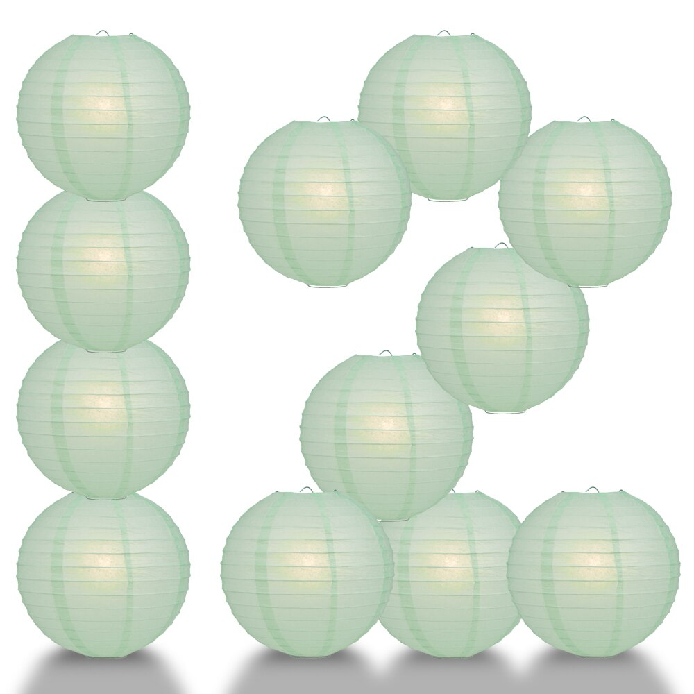 "12-Pack 24"" Cool Mint Green Parallel Ribbing Round Paper Lantern - Luna Bazaar 