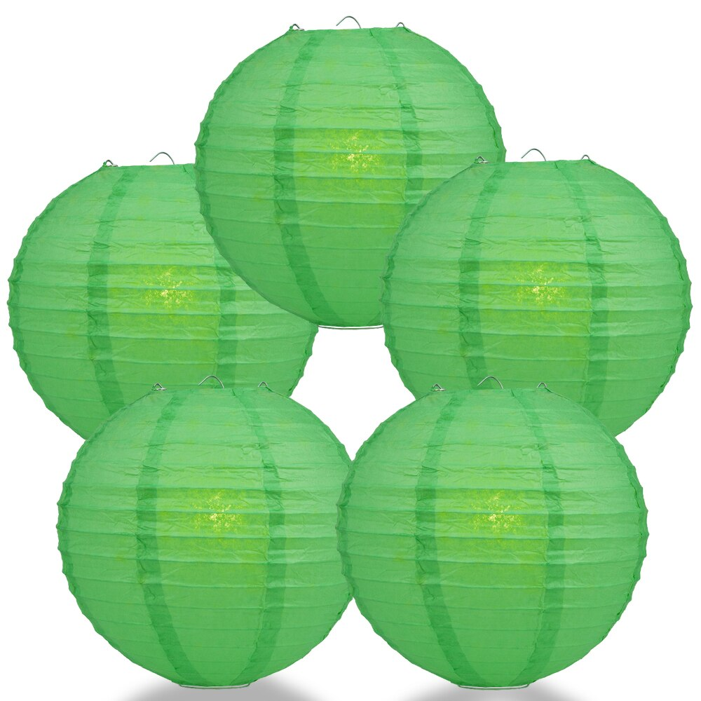 "5-Pack 36"" Emerald Green Jumbo Parallel Ribbing Round Paper Lantern - Luna Bazaar - Discover. Decorate. Celebrate"