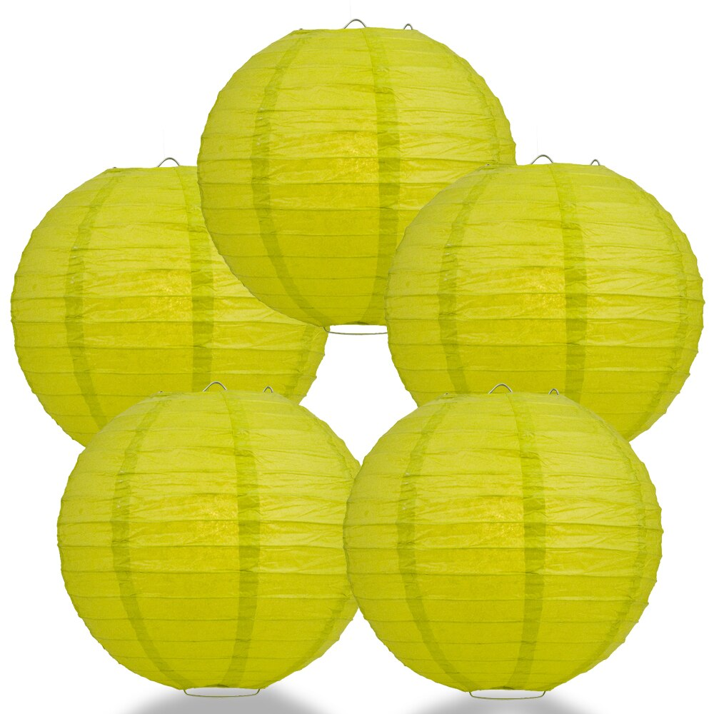 "5-Pack 8"" Chartreuse Parallel Ribbing Round Paper Lantern - Luna Bazaar 