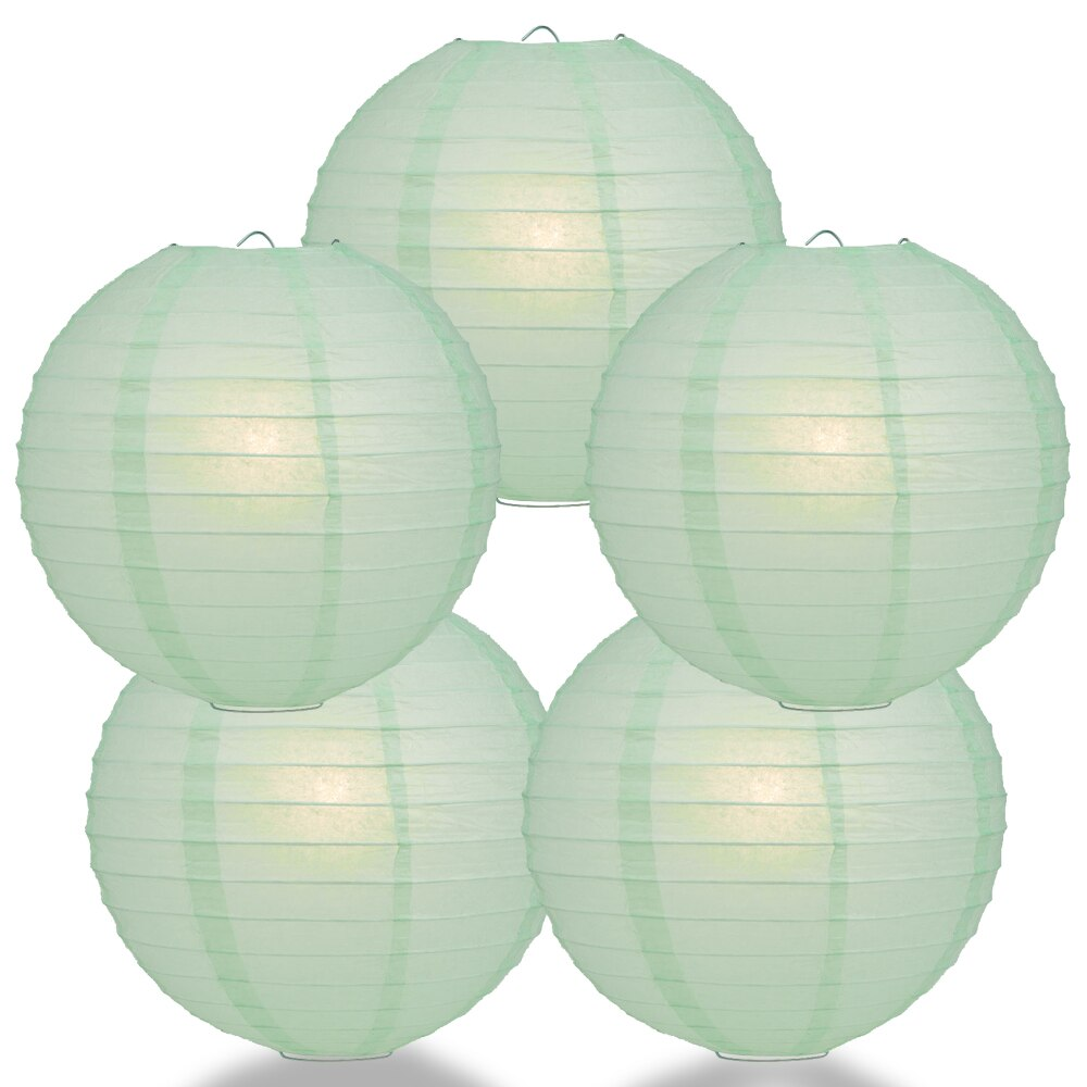 "5-Pack 16"" Cool Mint Green Parallel Ribbing Round Paper Lantern - Luna Bazaar 
