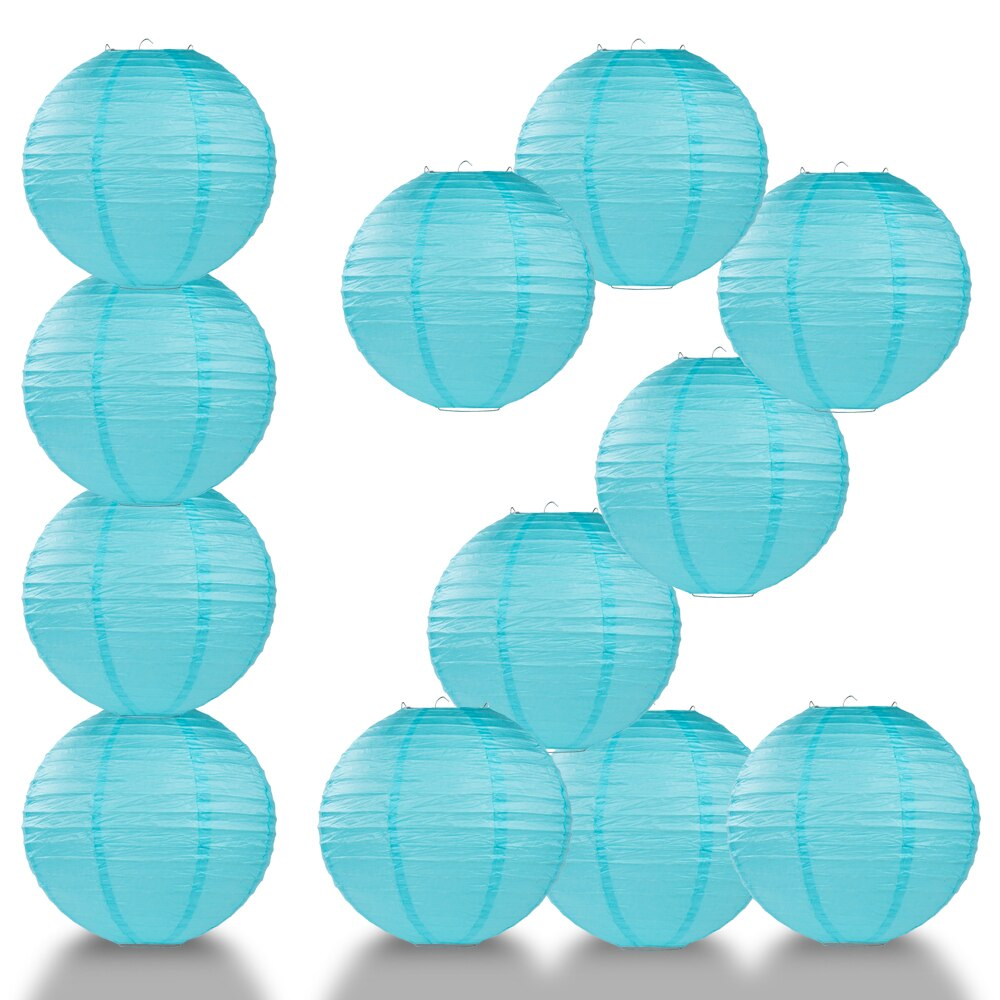 "12-Pack 24"" Baby Blue Parallel Ribbing Round Paper Lantern - Luna Bazaar - Discover. Decorate. Celebrate"