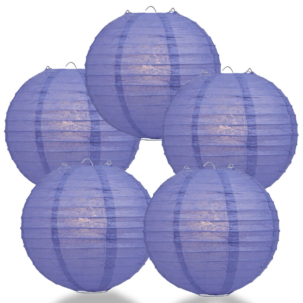 "5-Pack 8"" Astra Blue Parallel Ribbing Round Paper Lantern - Luna Bazaar - Discover. Decorate. Celebrate"