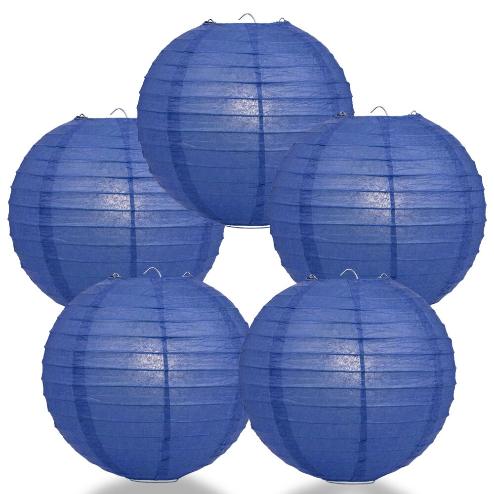 "5-Pack 20"" Dark Blue Parallel Ribbing Round Paper Lantern - Luna Bazaar - Discover. Decorate. Celebrate"