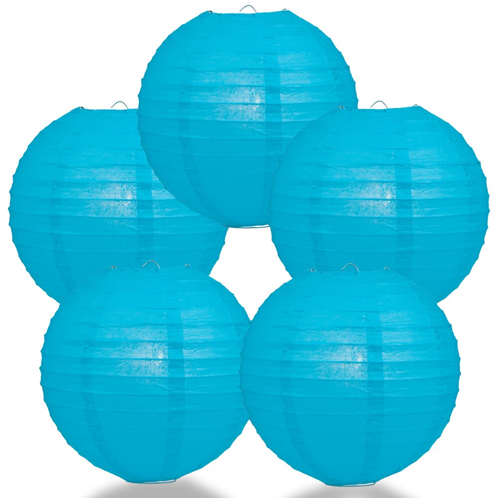 "5-Pack 14"" Turquoise Parallel Ribbing Round Paper Lantern - Luna Bazaar 