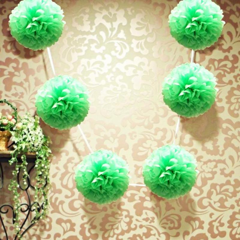 "CLOSEOUT EZ-Fluff 6"" Grass Greenery Hanging Tissue Paper Flower Pom Pom, Party Garland Decoration - Luna Bazaar 