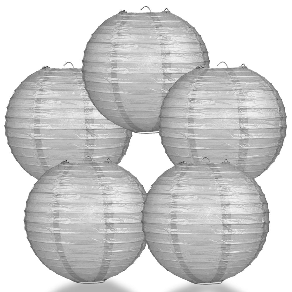 "5-Pack 14"" Silver Parallel Ribbing Round Paper Lantern - Luna Bazaar - Discover. Decorate. Celebrate"