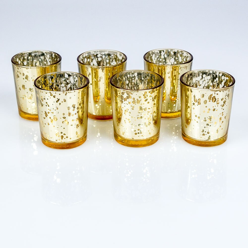 Mercury Glass Votive Tea Light Candle Holder - Gold (2.5 Inches) (24-Pack) - Luna Bazaar | Boho & Vintage Style Decor