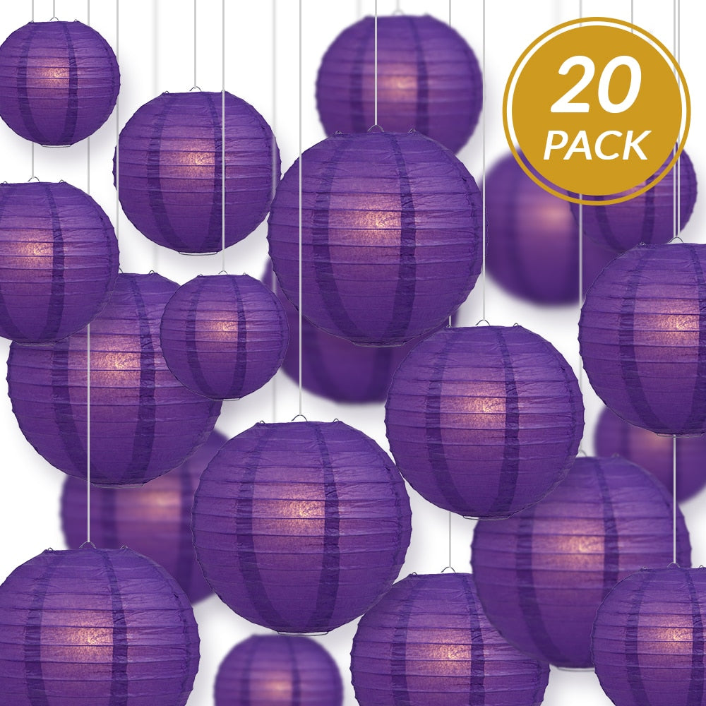 "Ultimate 20-Piece Purple Paper Lantern Party Pack - Assorted Sizes of 6"", 8"", 10"", 12"" (5 Round Lanterns Each) for Weddings, Birthday, Events and Décor - Luna Bazaar 