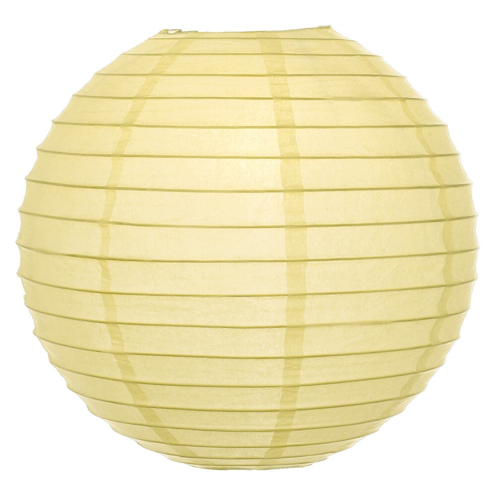 Lemonade Yellow 8 Inch Round Parallel Ribbed Premium Paper Lantern - Luna Bazaar - Discover. Decorate. Celebrate