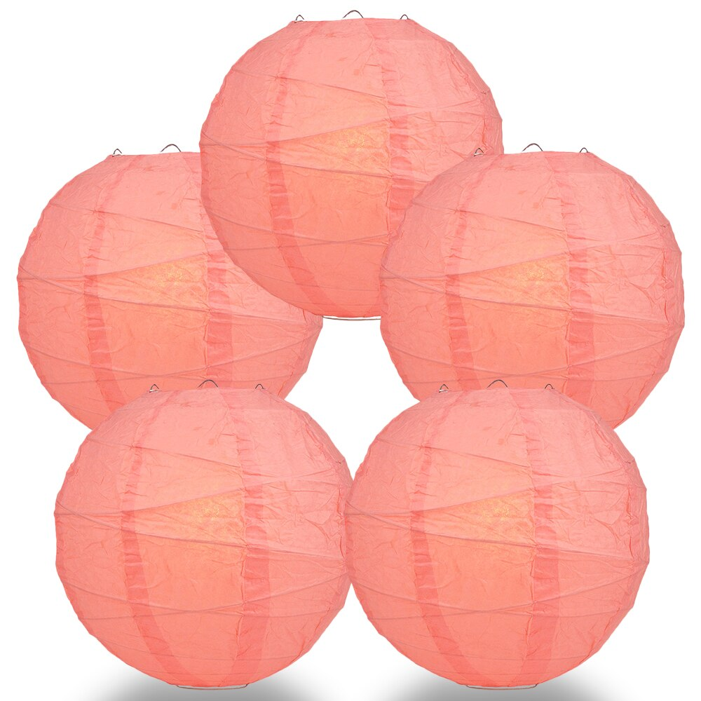 "5-Pack 24"" Roseate / Pink Coral Free-Style Ribbing Round Paper Lantern - Luna Bazaar 