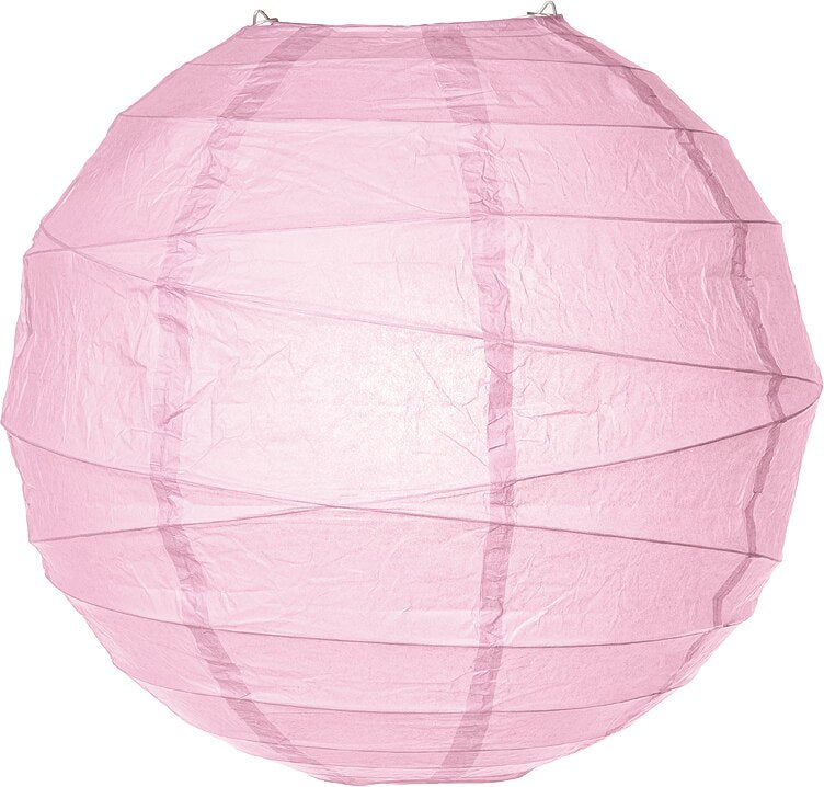 Light Pink 24 Inch Round No Frills Free-Styled Ribbed Paper Lantern - Luna Bazaar | Boho & Vintage Style Decor