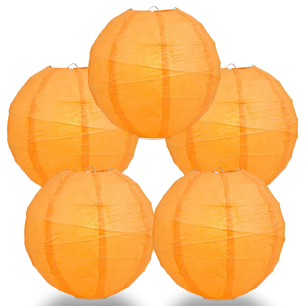 "5-Pack 16"" Orange Free-Style Ribbing Round Paper Lantern - Luna Bazaar - Discover. Decorate. Celebrate"