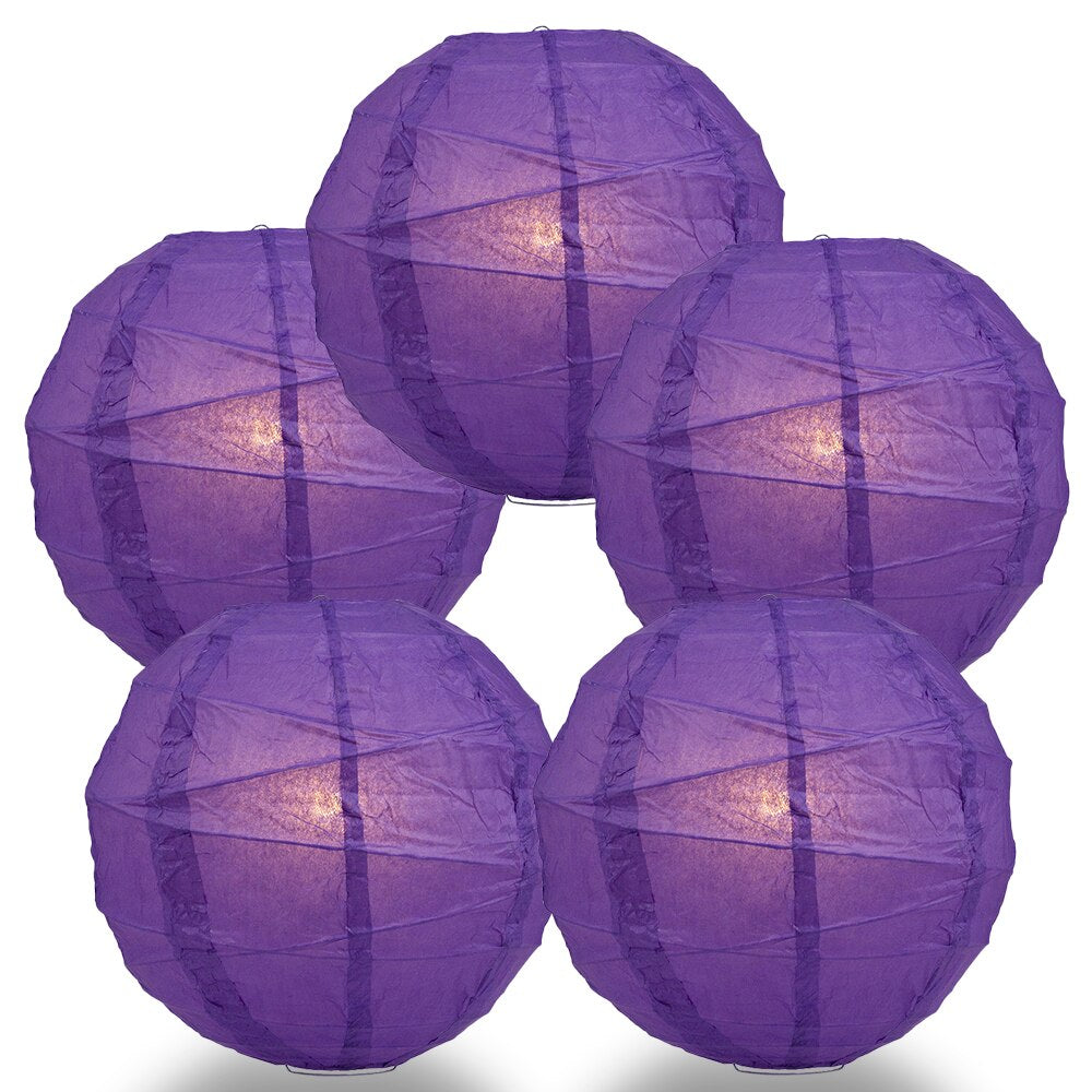 "5-Pack 14"" Royal Purple Free-Style Ribbing Round Paper Lantern - Luna Bazaar - Discover. Decorate. Celebrate"
