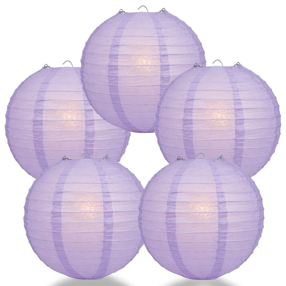 "5-Pack 8"" Lavender Parallel Ribbing Round Paper Lantern - Luna Bazaar - Discover. Decorate. Celebrate"