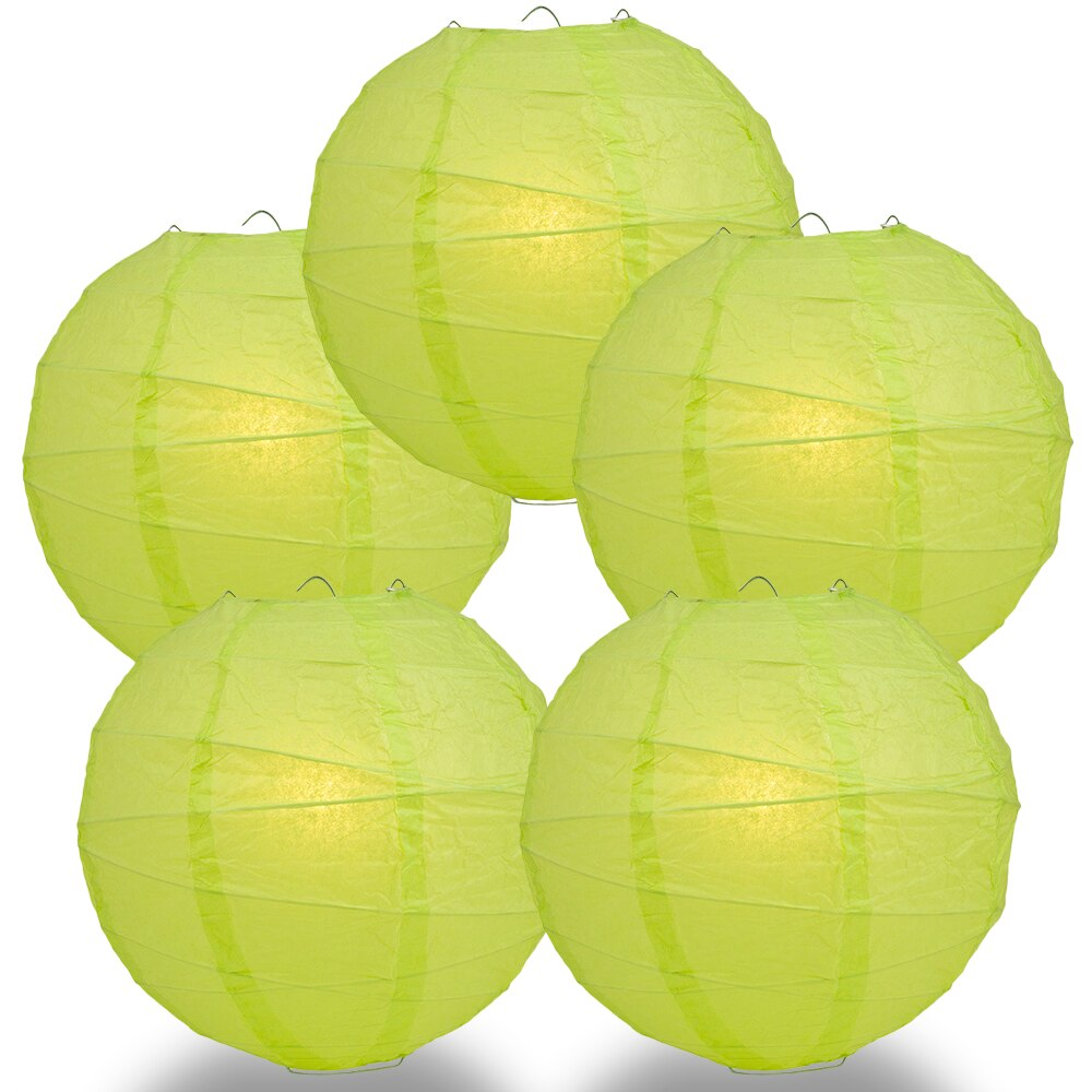 "5-Pack 6"" Light Lime Green Free-Style Ribbing Round Paper Lantern - Luna Bazaar 