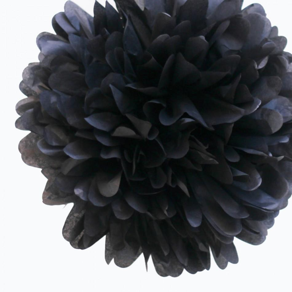 "CLOSEOUT EZ-Fluff 8"" Black Tissue Paper Pom Pom Flowers, Hanging Decorations (4 PACK) - Luna Bazaar 
