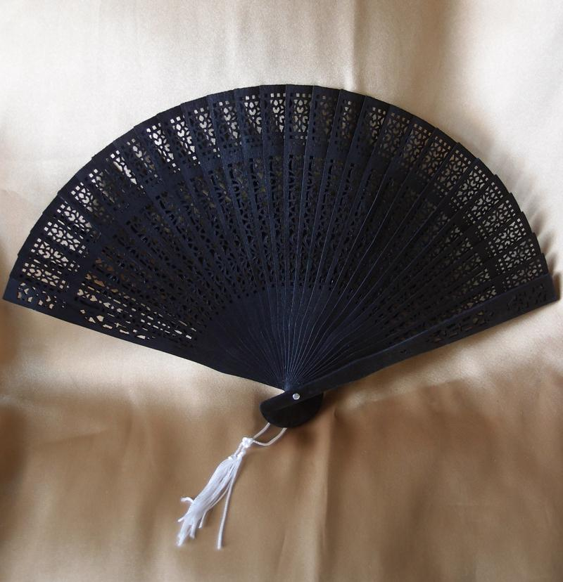 "8"" Black Wood Panel Hand Fan w/ Organza Bag for Weddings - Luna Bazaar 