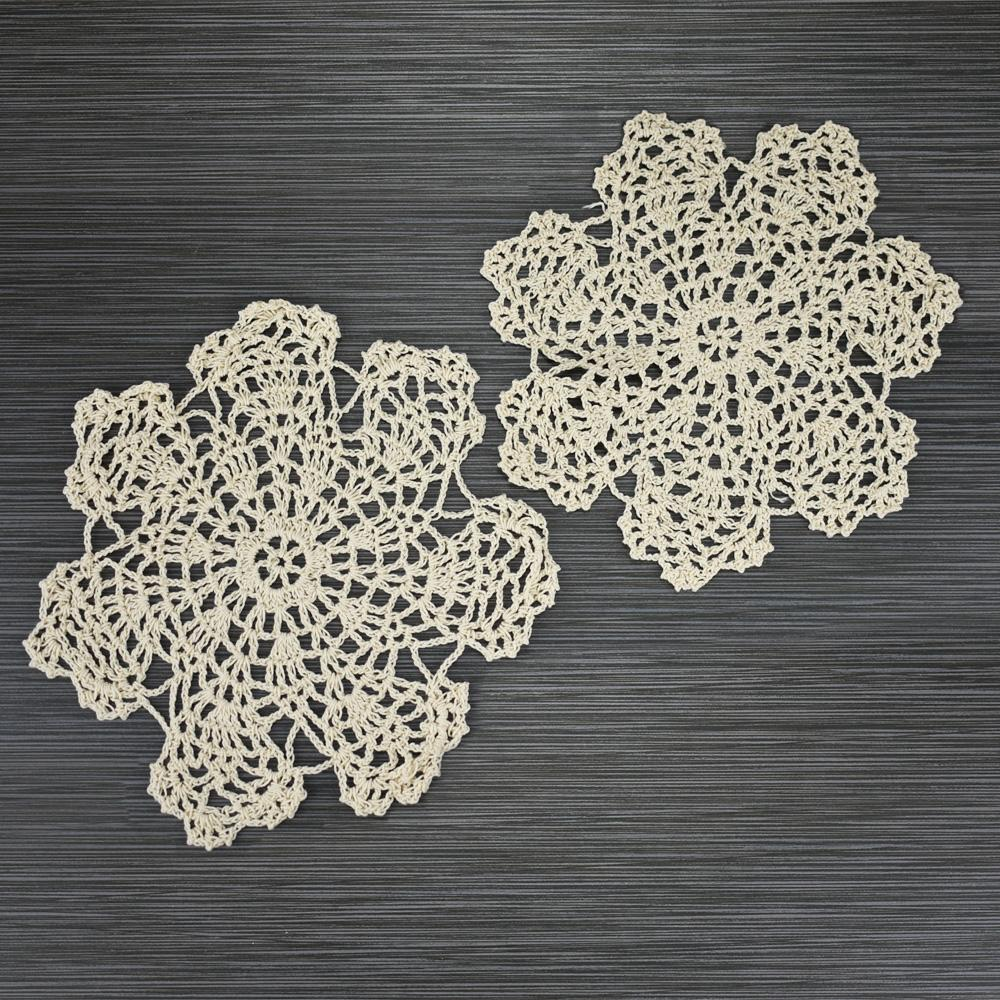 "CLOSEOUT 7"" Bloom Shaped Crochet Lace Doilies Placemats, Handmade Cotton - Beige (2 PACK) - Luna Bazaar 