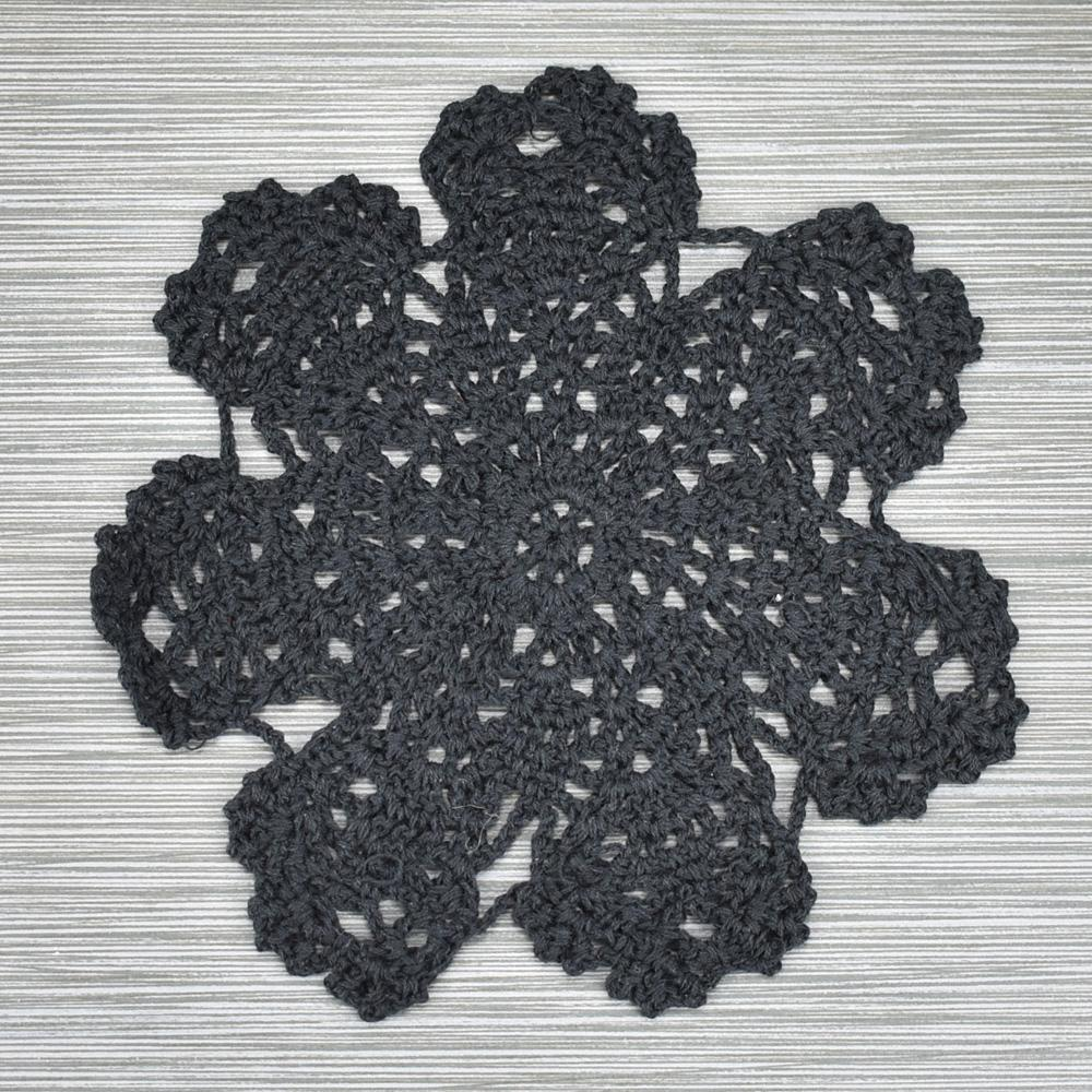 "CLOSEOUT 7"" Bloom Shaped Crochet Lace Doilies Placemats, Handmade Cotton - Black (2 PACK) - Luna Bazaar - Discover. Decorate. Celebrate"
