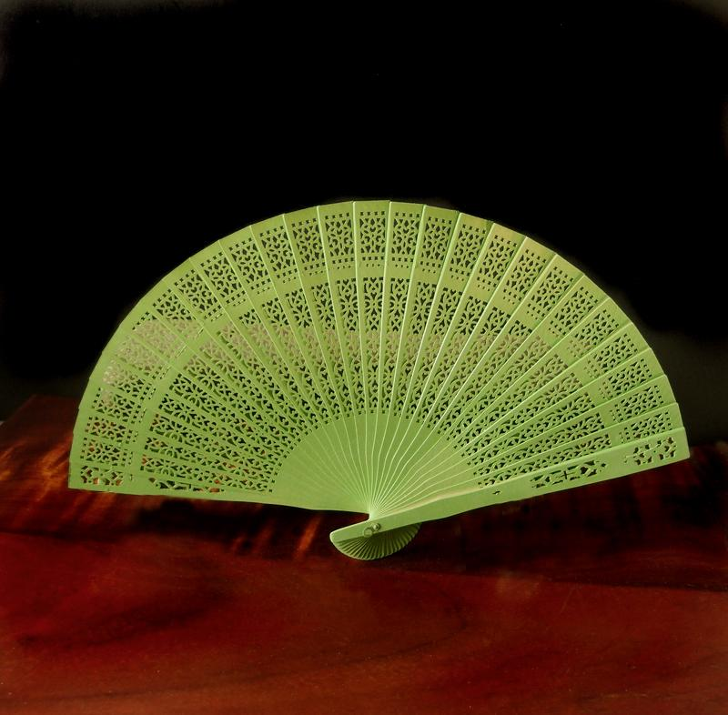 "CLOSEOUT 8"" Chartreuse Wood Panel Hand Fan w/ Organza Bag for Weddings - Luna Bazaar 