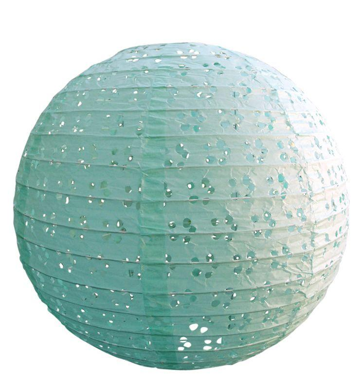 "CLOSEOUT 8"" Round Eyelet Lace Look Paper Lantern - Cool Mint - Luna Bazaar - Discover. Decorate. Celebrate"