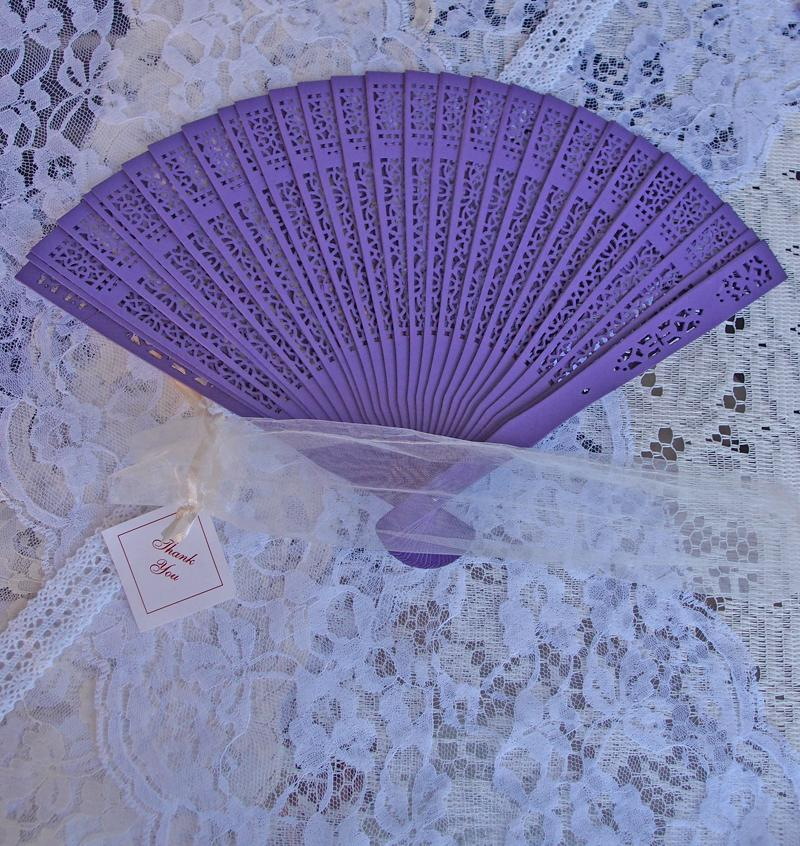 "8"" Dark Purple Wood Panel Hand Fan w/ Organza Bag for Weddings - Luna Bazaar - Discover. Decorate. Celebrate"