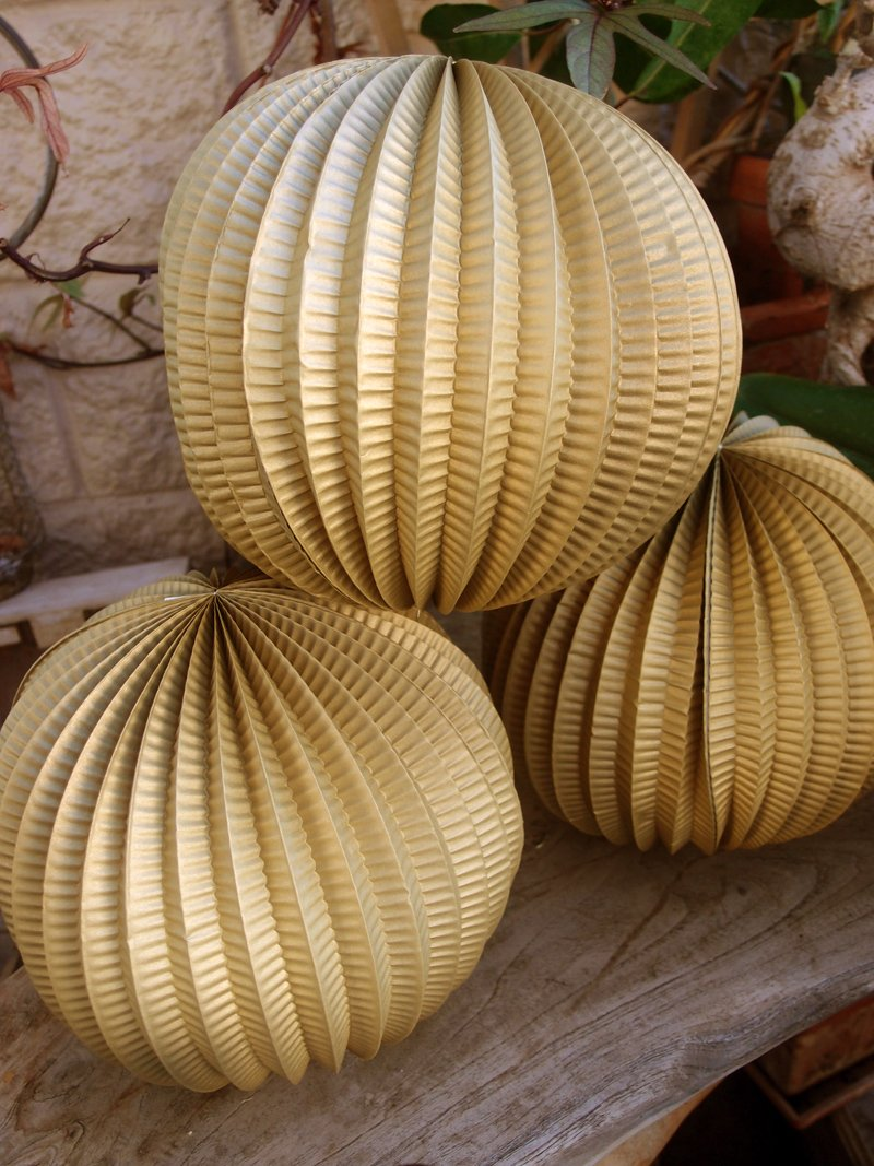"CLOSEOUT 8"" Gold Accordion Paper Lantern Balls - (3 PACK) - Luna Bazaar 