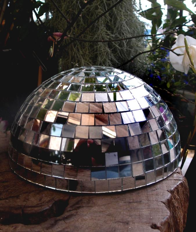 "(Discontinued) 8"" Silver Half Dome Disco Mirror Ball for Dance Party - Luna Bazaar 