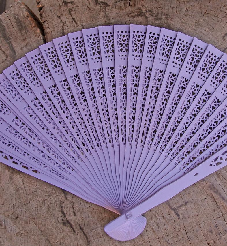"CLOSEOUT 8"" Lavender Wood Panel Hand Fan w/ Organza Bag for Weddings - Luna Bazaar - Discover. Decorate. Celebrate"
