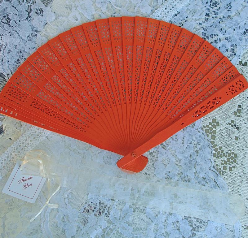 "CLOSEOUT 8"" Orange Wood Panel Hand Fan w/ Organza Bag for Weddings - Luna Bazaar 