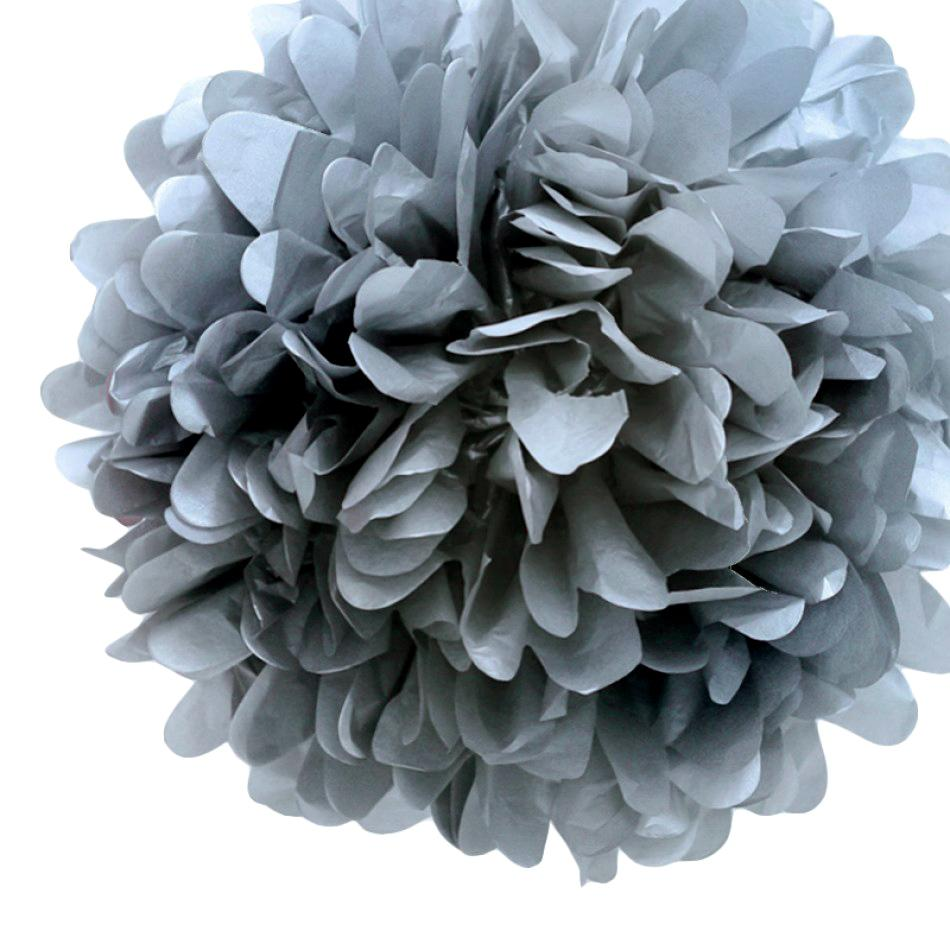 "CLOSEOUT EZ-Fluff 8"" Silver Tissue Paper Pom Pom Flowers, Hanging Decorations (4 PACK) - Luna Bazaar - Discover. Decorate. Celebrate"
