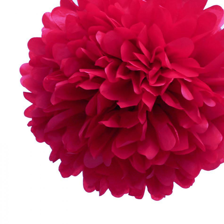 "EZ-Fluff 8"" Red Tissue Paper Pom Pom Flowers, Hanging Decorations (4 PACK) - Luna Bazaar 