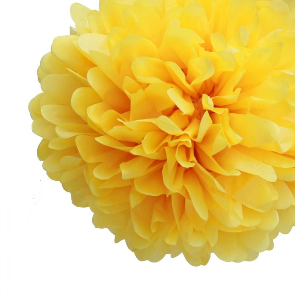 "CLOSEOUT EZ-Fluff 8"" Yellow Tissue Paper Pom Pom Flowers, Hanging Decorations (4 PACK) - Luna Bazaar 