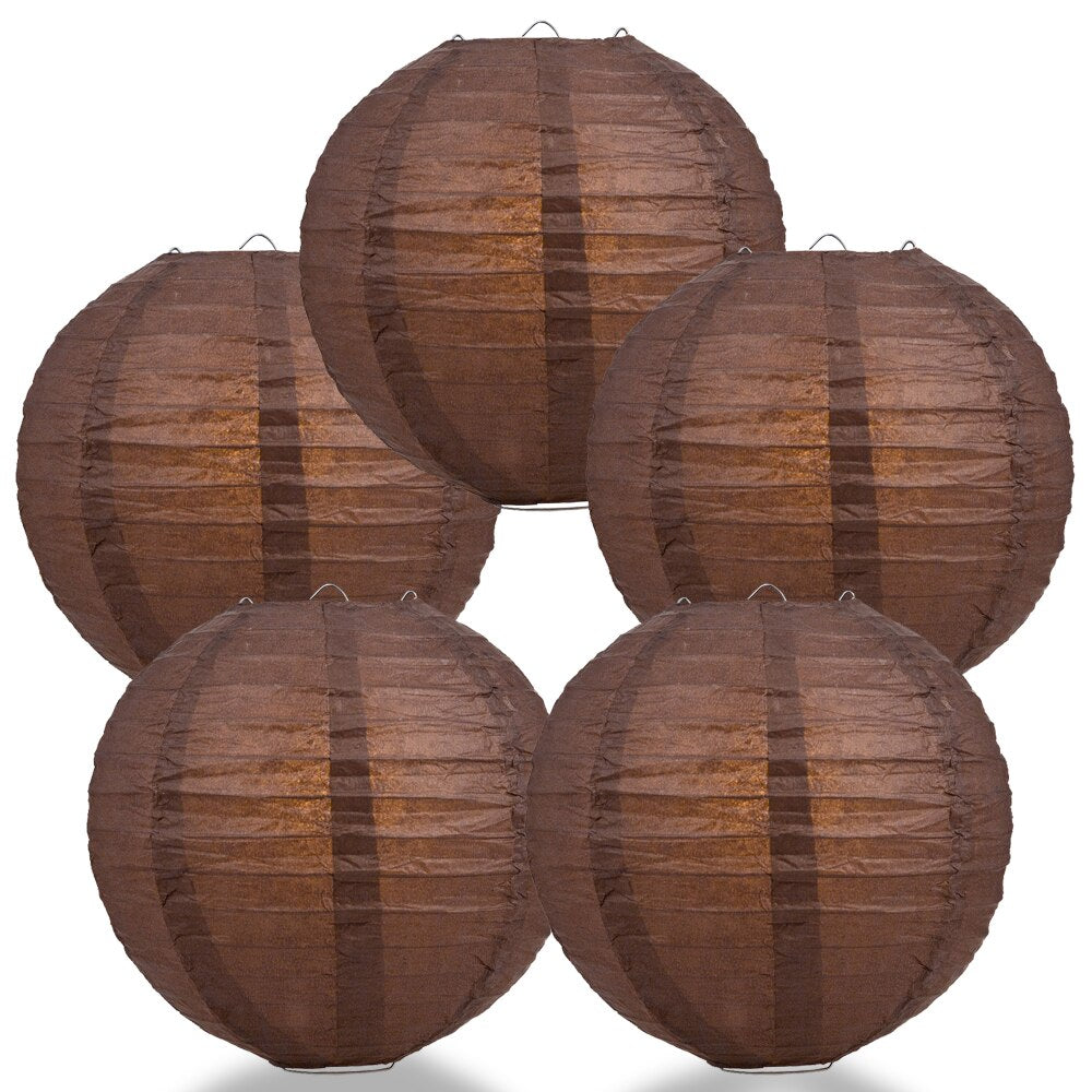 "5-Pack 20"" Brown Parallel Ribbing Round Paper Lantern - Luna Bazaar 