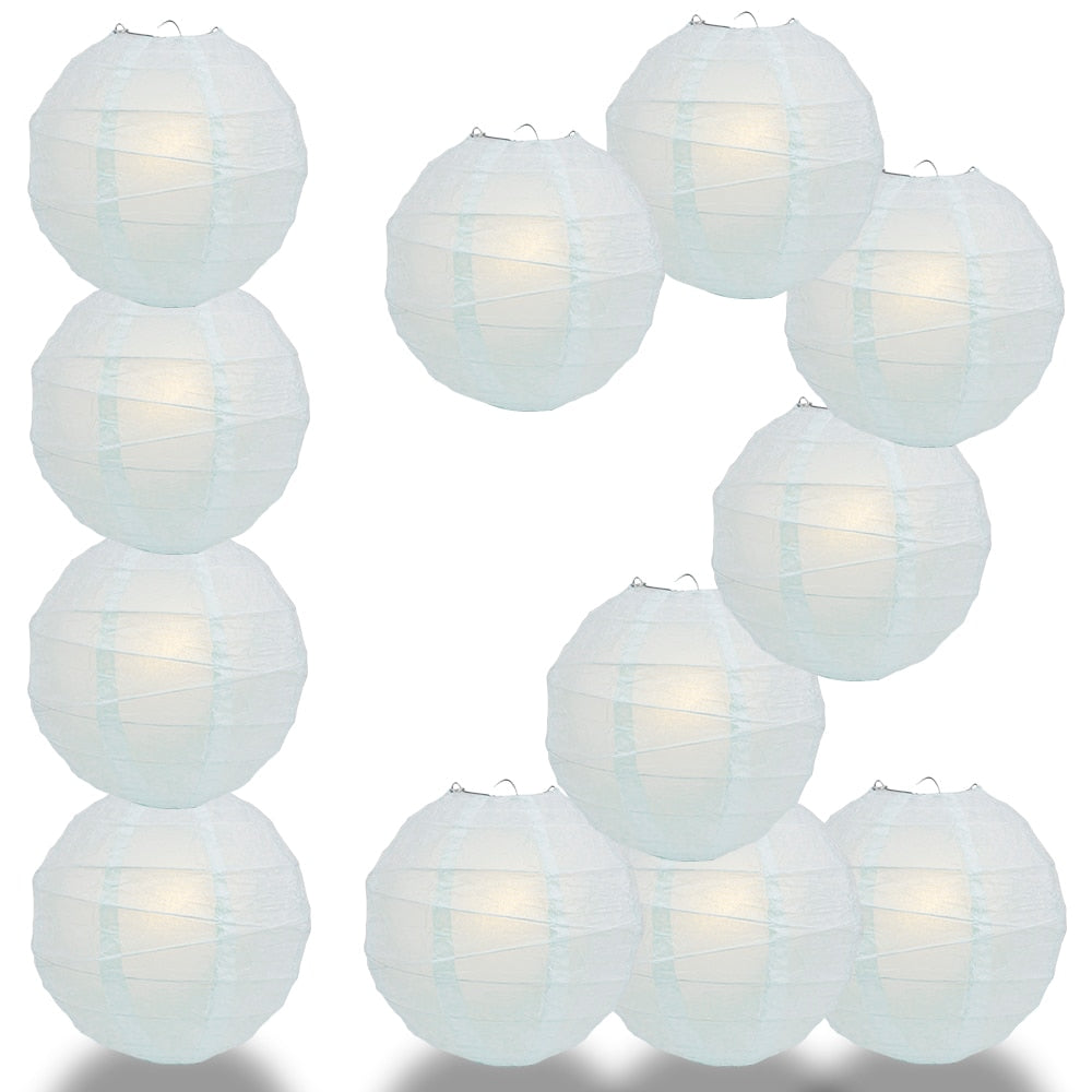 "12-Pack 20"" Arctic Spa Blue Free-Style Ribbing Round Paper Lantern - Luna Bazaar 
