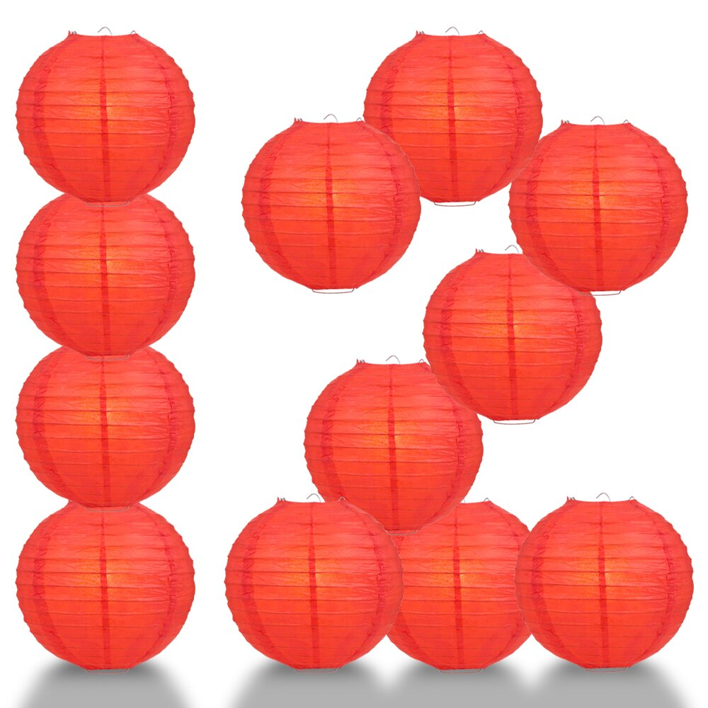 "12-Pack 20"" Red Parallel Ribbing Round Paper Lantern - Luna Bazaar - Discover. Decorate. Celebrate"